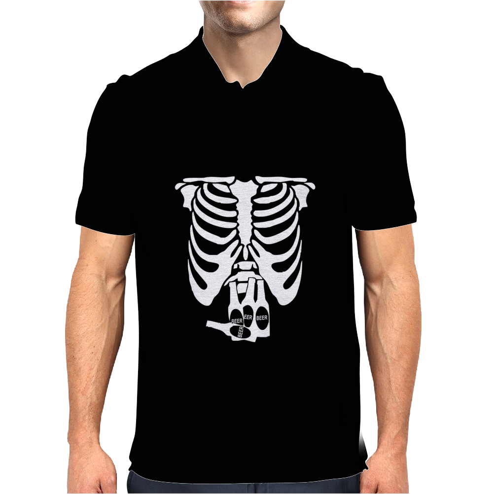Beer Belly Xray Skeleton Funny Mens Polo