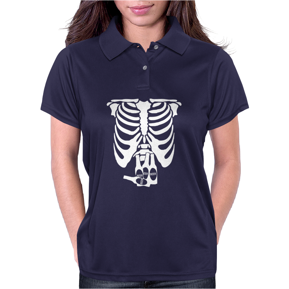 Beer Belly Xray Skeleton Funny Womens Polo