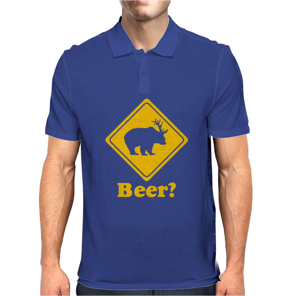 BEER DEER Funny Humor Geek Mens Polo
