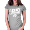 Beery Christmas Hops Drinking Beer Funny Womens Fitted T-Shirt