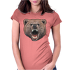 Big In Your Face Grizzly Bear Bite Womens Fitted T-Shirt
