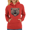 Big In Your Face Grizzly Bear Bite Womens Hoodie
