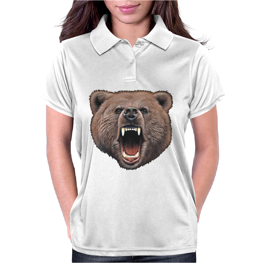 Big In Your Face Grizzly Bear Bite Womens Polo