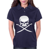 Biker Pirate Skull Bones Swords Womens Polo