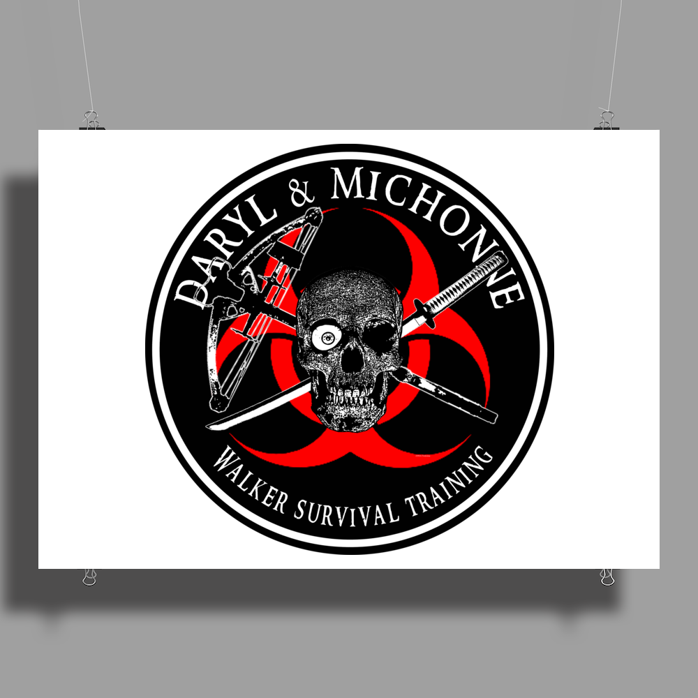 Biohazard Daryl Michonne Walker Survival Training  Ring Patch outlined 3 Poster Print (Landscape)