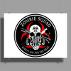 Biohazard Zombie Squad Always aim for the head F U Ring Patch outlined Poster Print (Landscape)