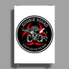 Biohazard Zombie Squad Always aim for the head Ring Patch outlined 2 Poster Print (Portrait)