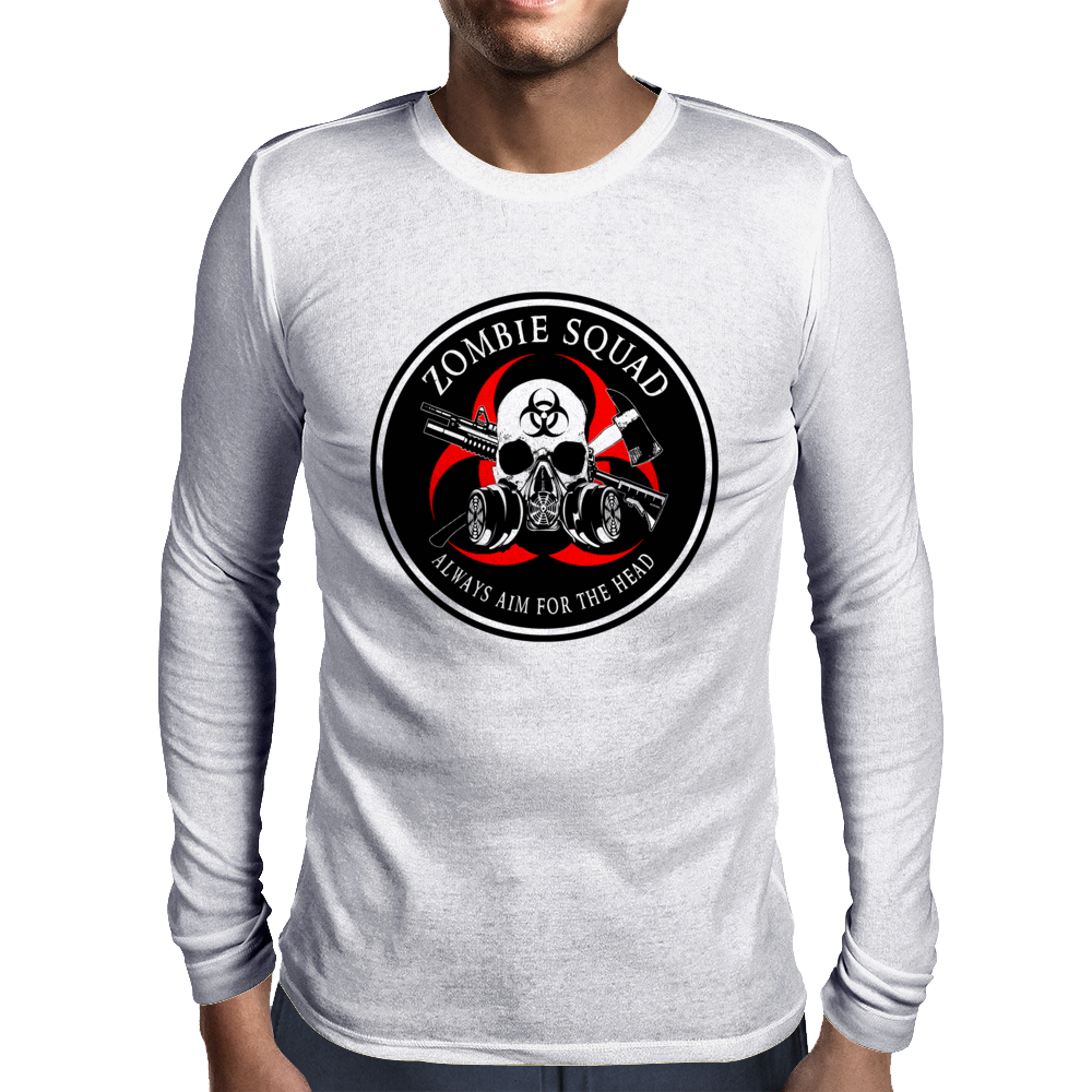 Biohazard Zombie Squad Always aim for the head Ring Patch outlined Mens Long Sleeve T-Shirt