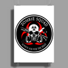 Biohazard Zombie Squad Always aim for the head Ring Patch outlined Poster Print (Portrait)