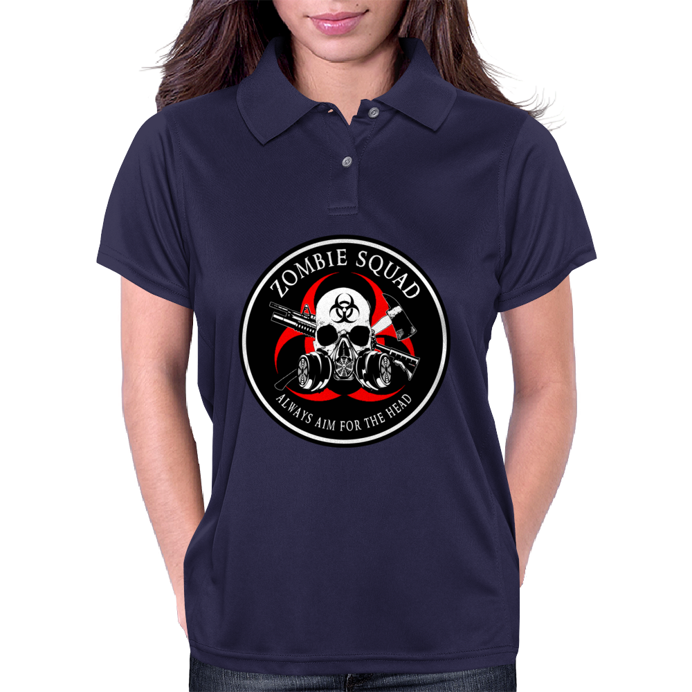Biohazard Zombie Squad Always aim for the head Ring Patch outlined Womens Polo