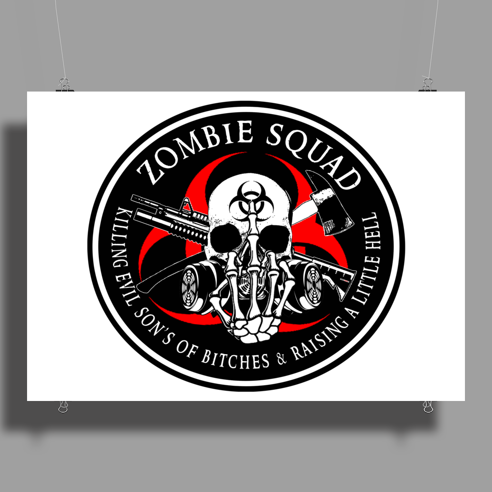 Biohazard Zombie Squad Fuck U Ring Patch outlined L Poster Print (Landscape)