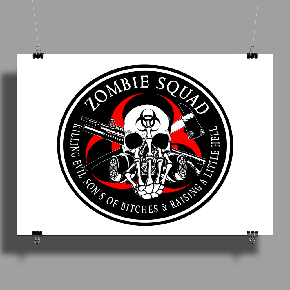 Biohazard Zombie Squad Fuck U Ring Patch outlined Poster Print (Landscape)