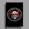 Biohazard Zombie Squad Fuck U Ring Patch outlined Poster Print (Portrait)