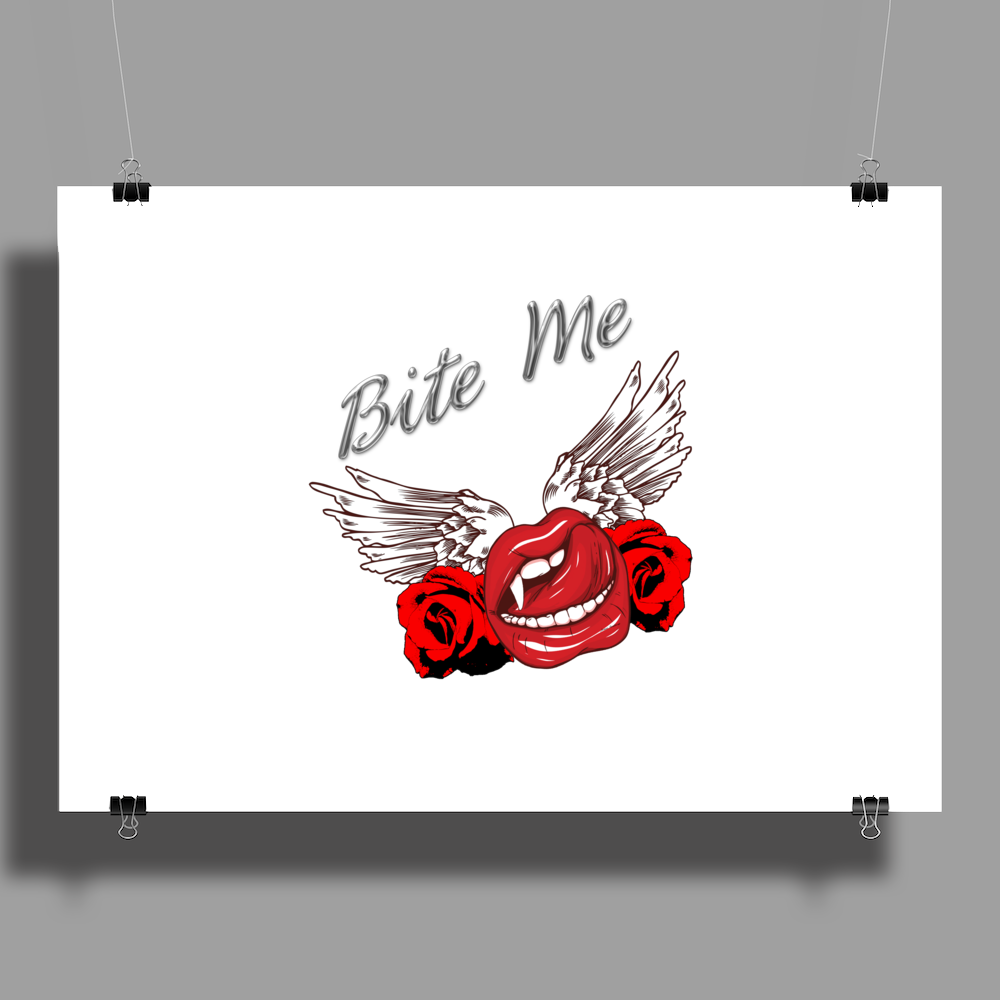 Bite me Vampkiss Wings 2 Poster Print (Landscape)