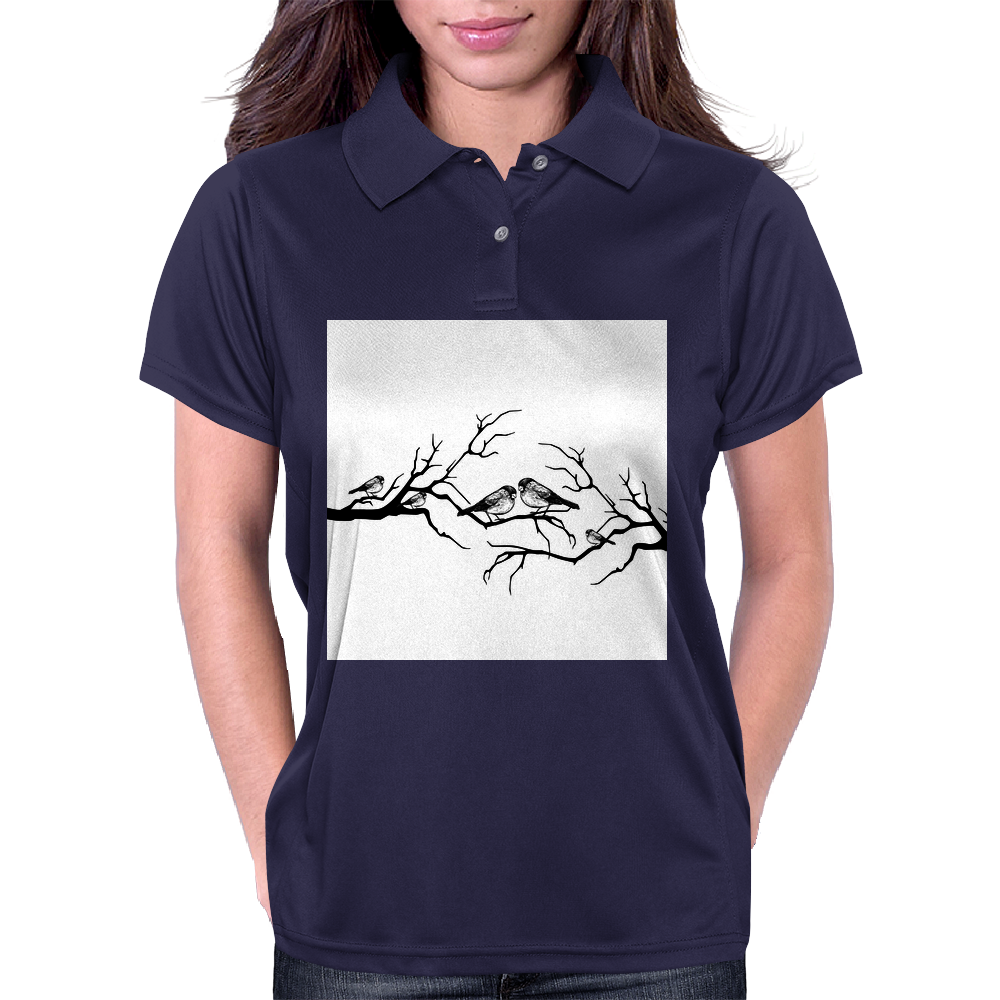 Black and White birds Womens Polo