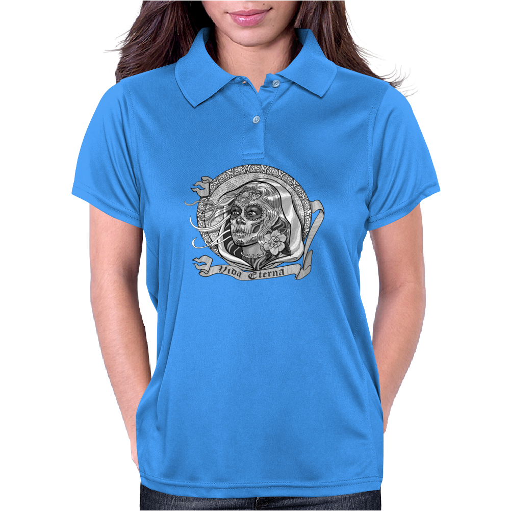 Black and White Catrina (Day of the Dead) Womens Polo