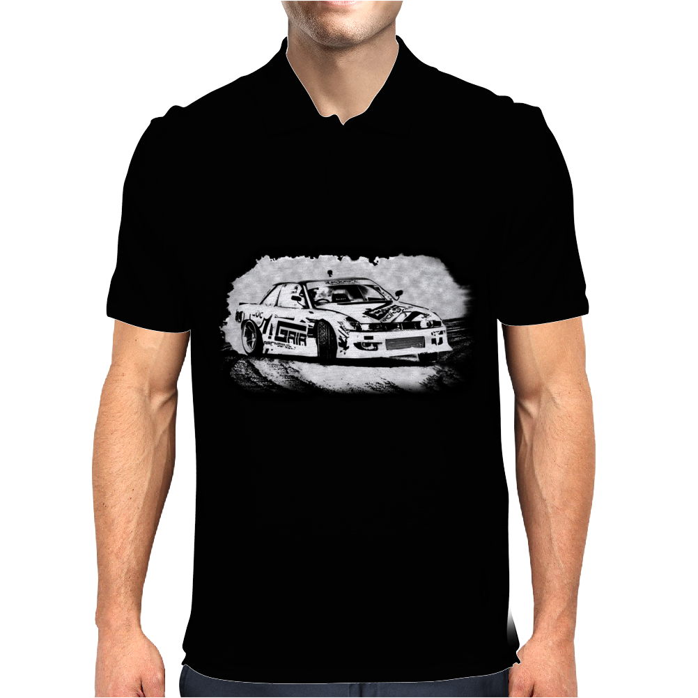 Black and white Drift racing action Mens Polo