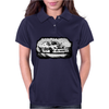 Black and white Drift racing action Womens Polo