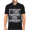 Black and White Sacred Geometry Zentangle Design Mens Polo