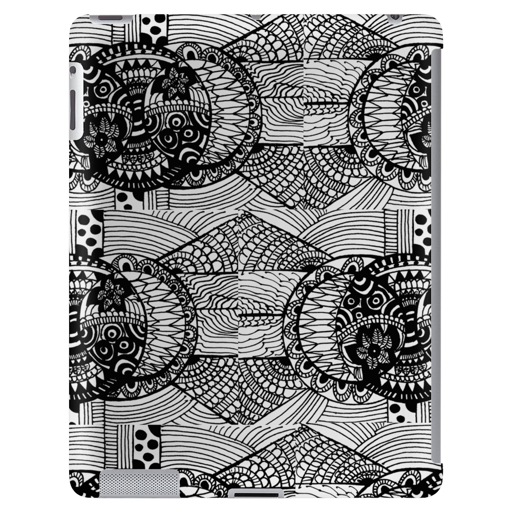 Black and White Sacred Geometry Zentangle Design Tablet (vertical)