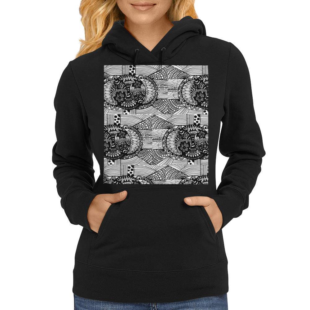 Black and White Sacred Geometry Zentangle Design Womens Hoodie