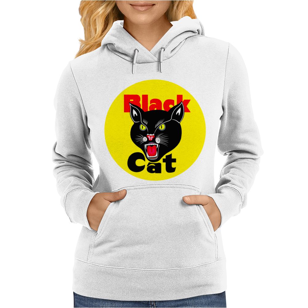 Black Cat Fireworks Firecracker Womens Hoodie
