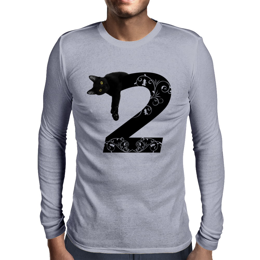 Black cat No.2 Mens Long Sleeve T-Shirt