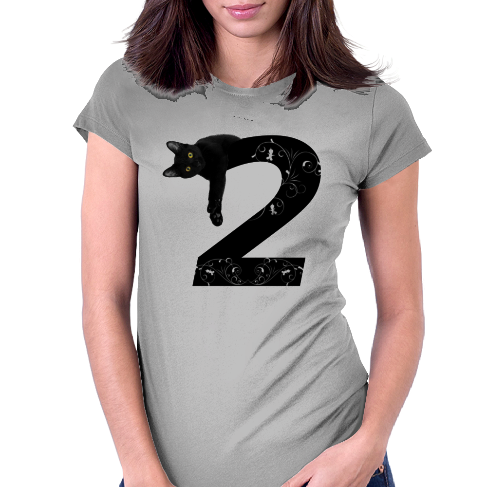 Black cat No.2 Womens Fitted T-Shirt