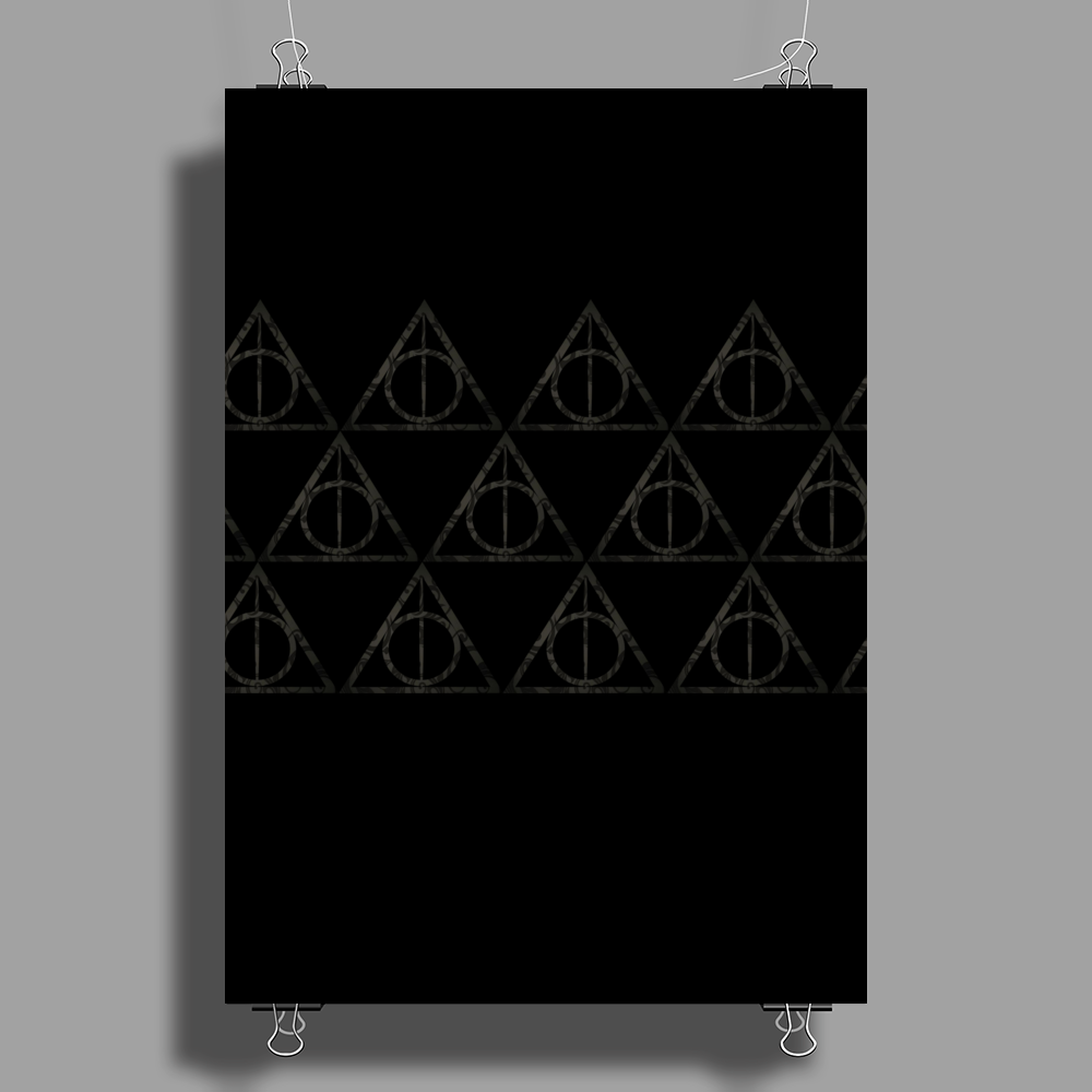 Black Filigree Deathly Hallows Poster Print (Portrait)