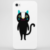 black happy happy cat with long tail Phone Case
