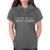 BLACK IS MY HAPPY COLOUR RINGER Womens Polo