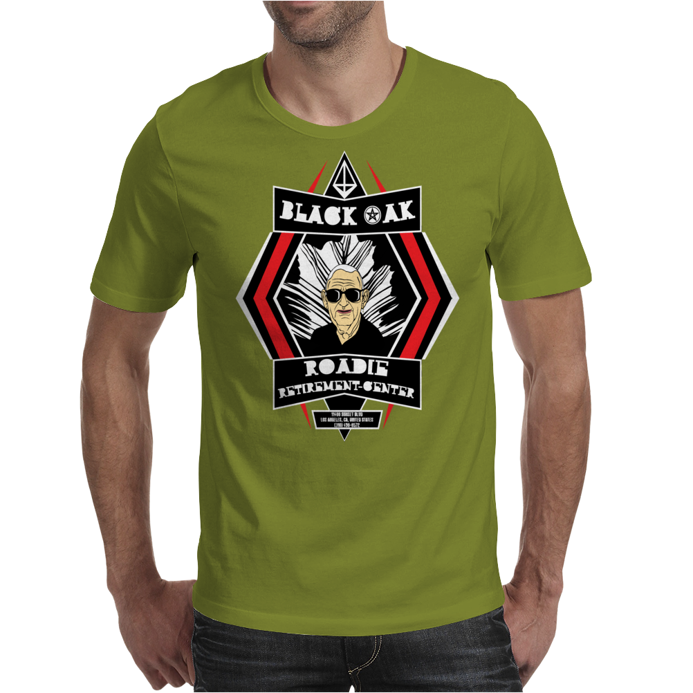 Black Oak Roadie Retirement Center (Real artwork for fake businesses series) Mens T-Shirt