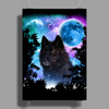 Black Wolf MidNight Forest 2 Poster Print (Portrait)