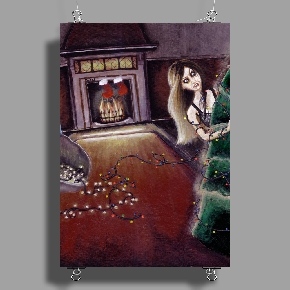 BLACK XMAS: Brighten up the Christmas lights by Rouble Rust Poster Print (Portrait)