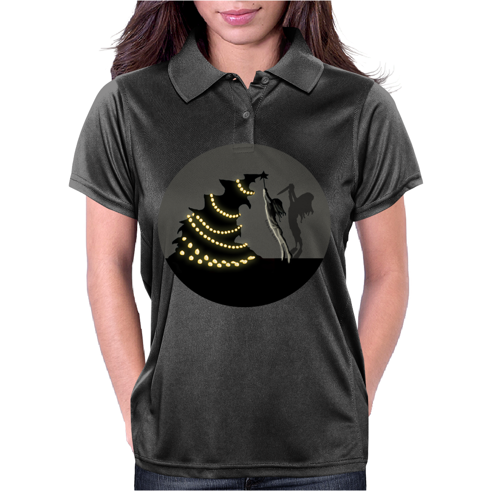 BLACK XMAS: Decorating the Christmas Tree by Rouble Rust Womens Polo
