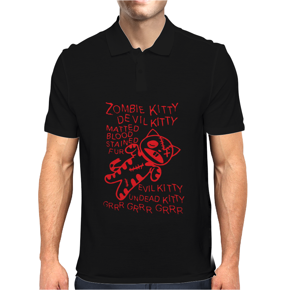 Black Zombie Soft Kitty Mens Polo