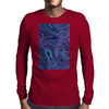 Blue Fractal Swirls Mens Long Sleeve T-Shirt