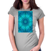 Blue Ice Snowflake Kaleidoscope Womens Fitted T-Shirt
