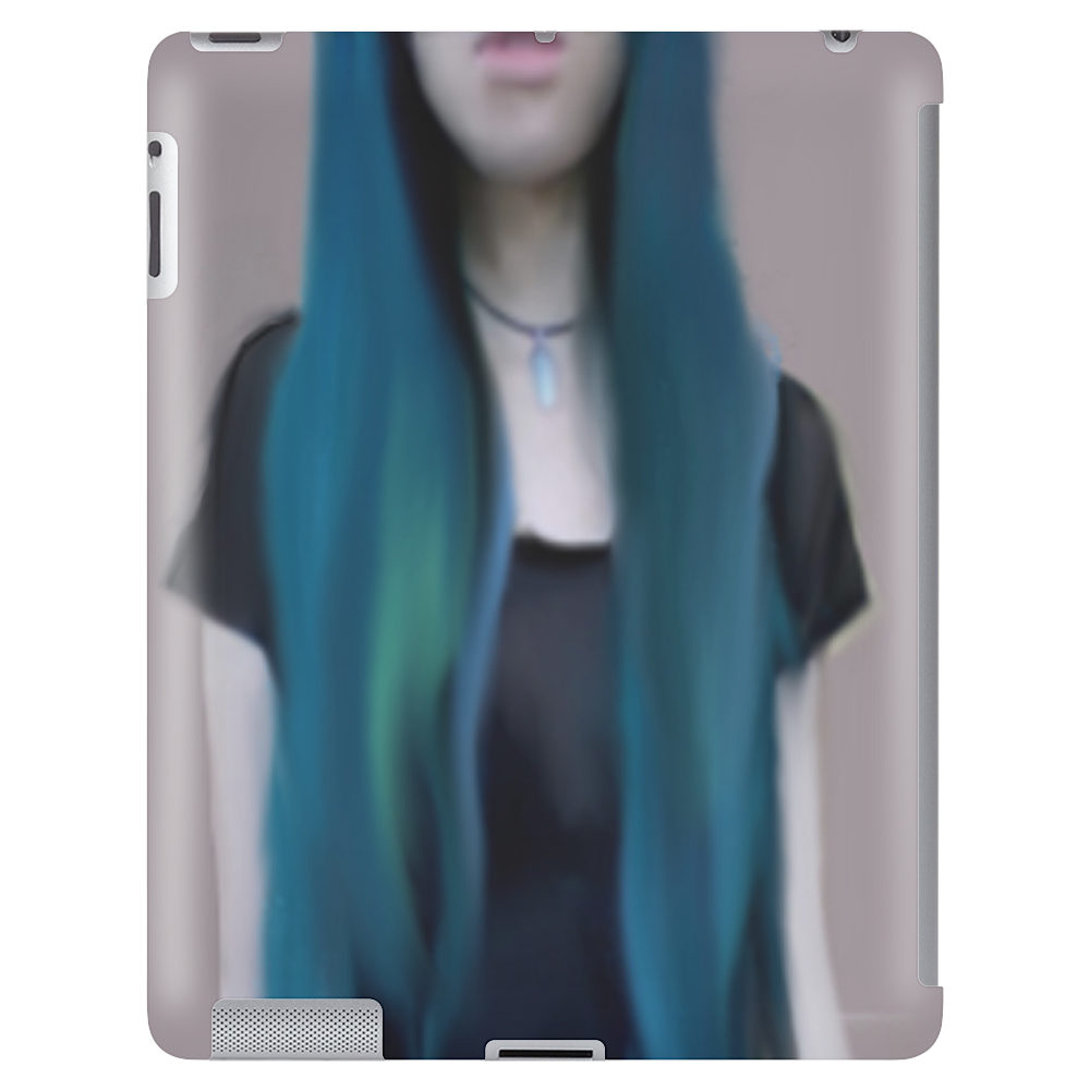 Blue Ombre Hair Illustration Tablet (vertical)