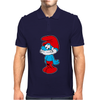 Blue Papa Smurf Cartoon Mens Polo