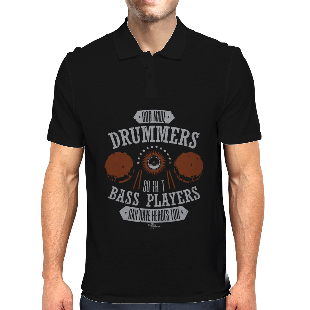 BM God Drummers Bass Heroes Too Mens Polo