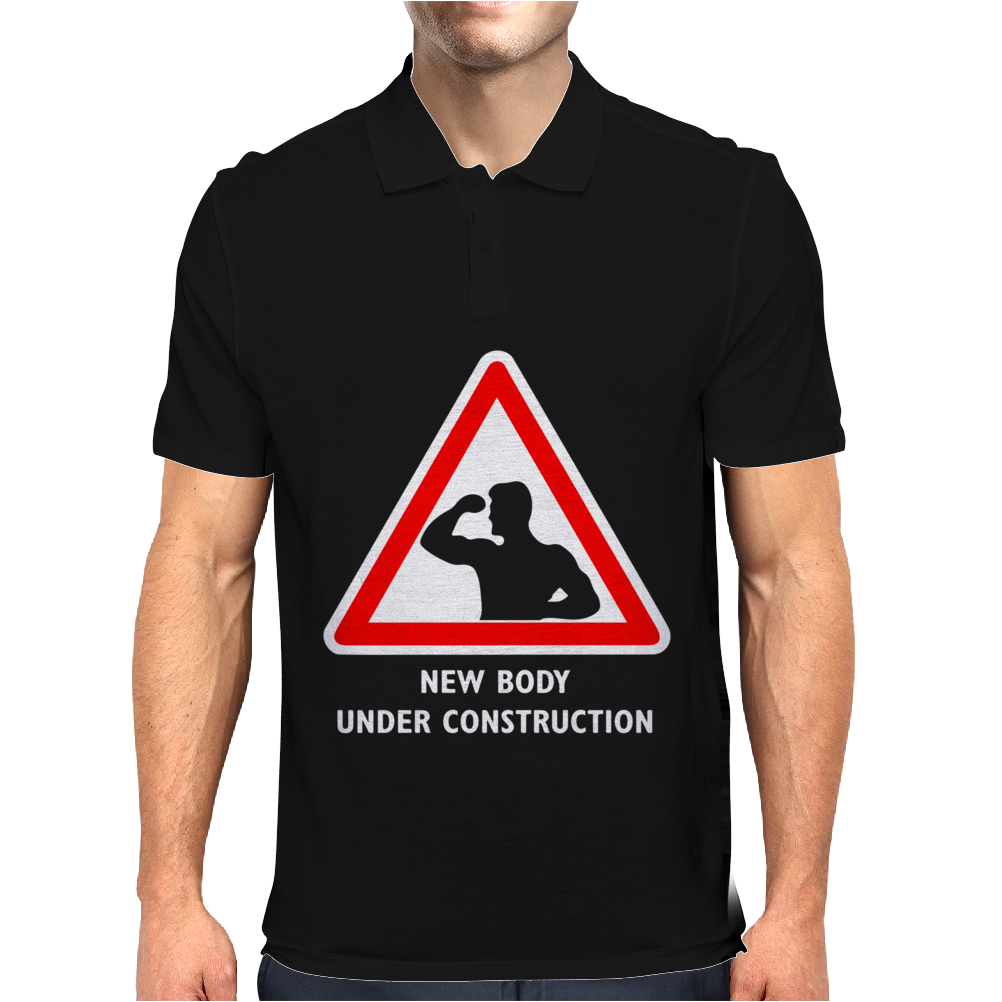 Body Under Construction Road Sign Mens Polo