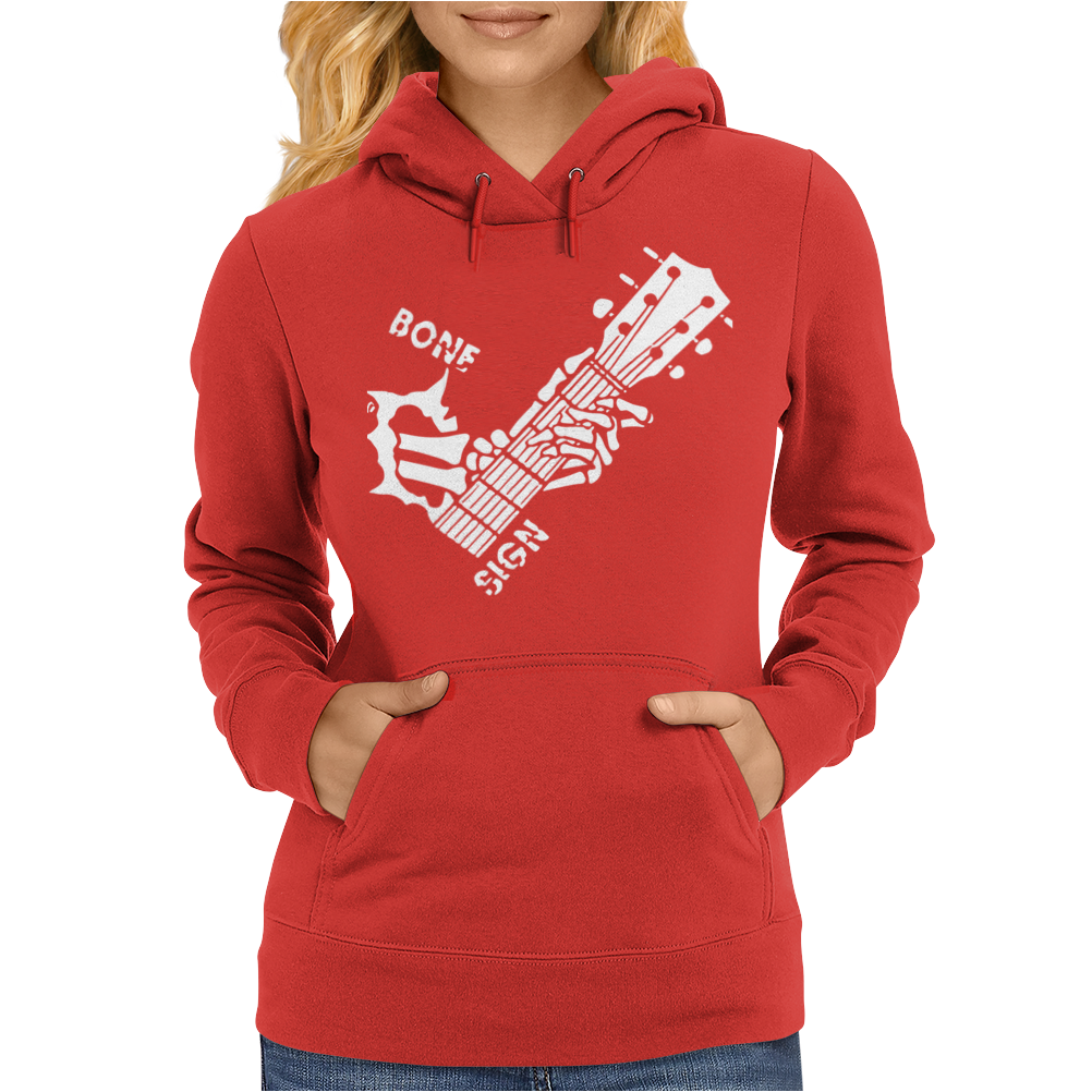 Bone Sign Guitar Womens Hoodie