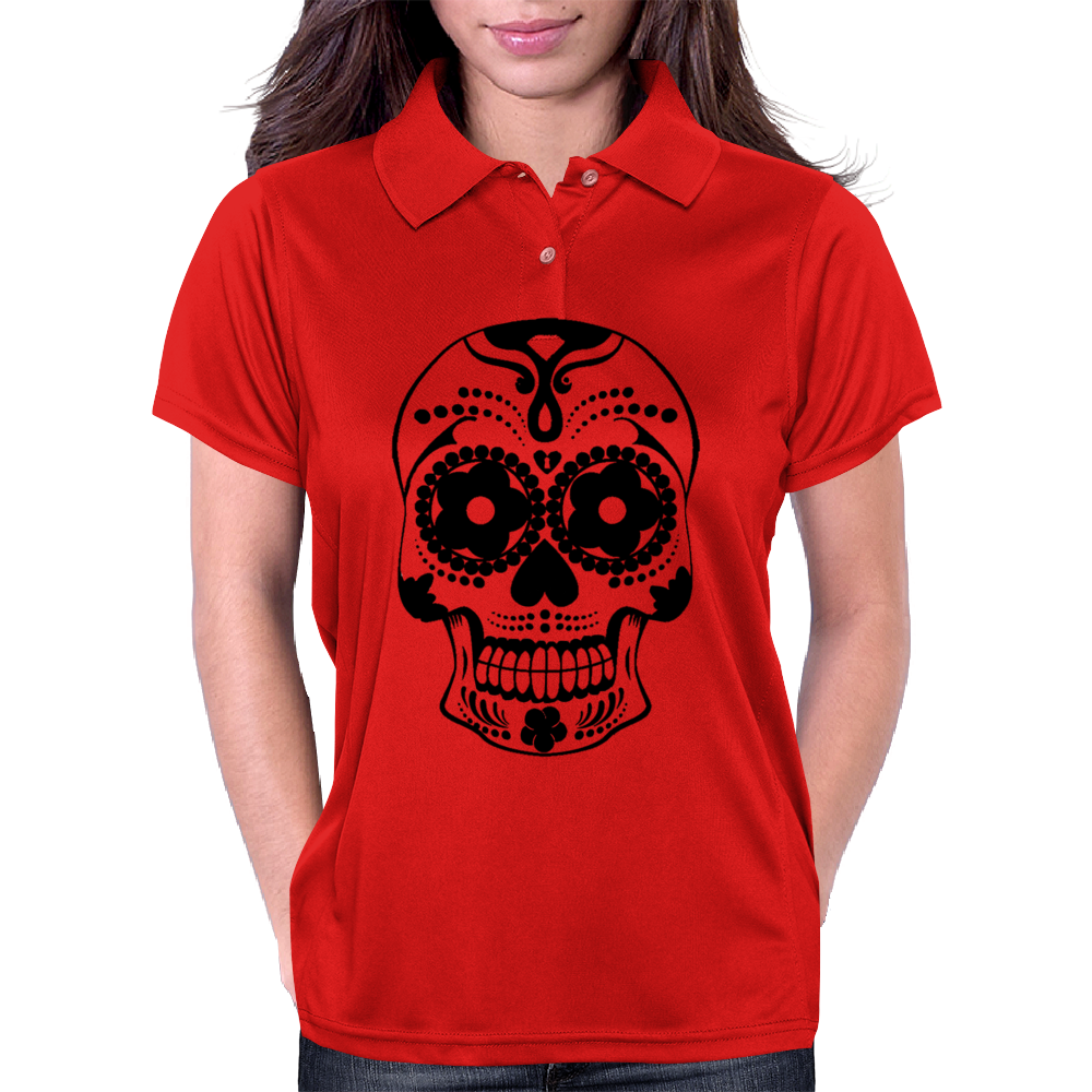 Bonita Calavera Black Mexican Skull Series Womens Polo