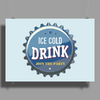 bottle cap crown cap blue crown cork ice cold drink join the party enjoy your party drink alcohol Poster Print (Landscape)