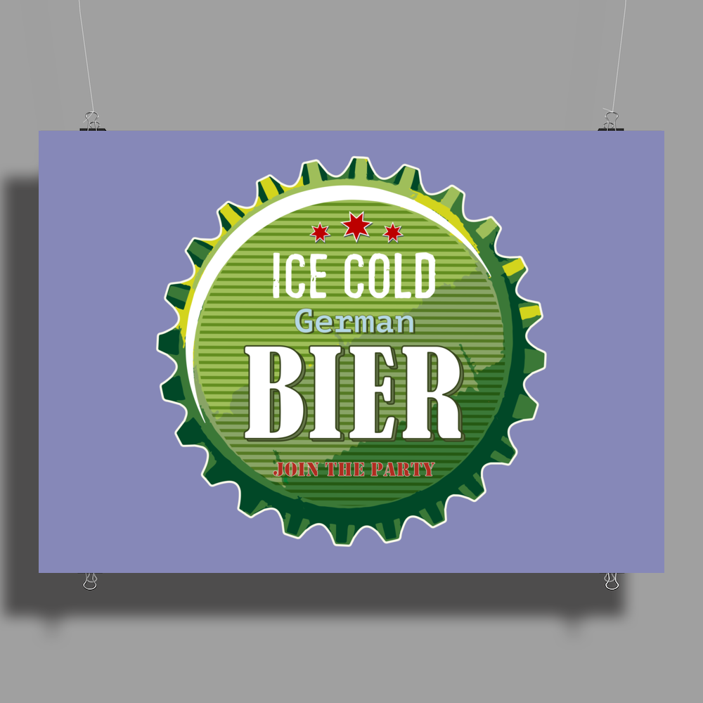 bottle cap crown cap green crown cork ice cold german beer join the party enjoy your party alcohol Poster Print (Landscape)