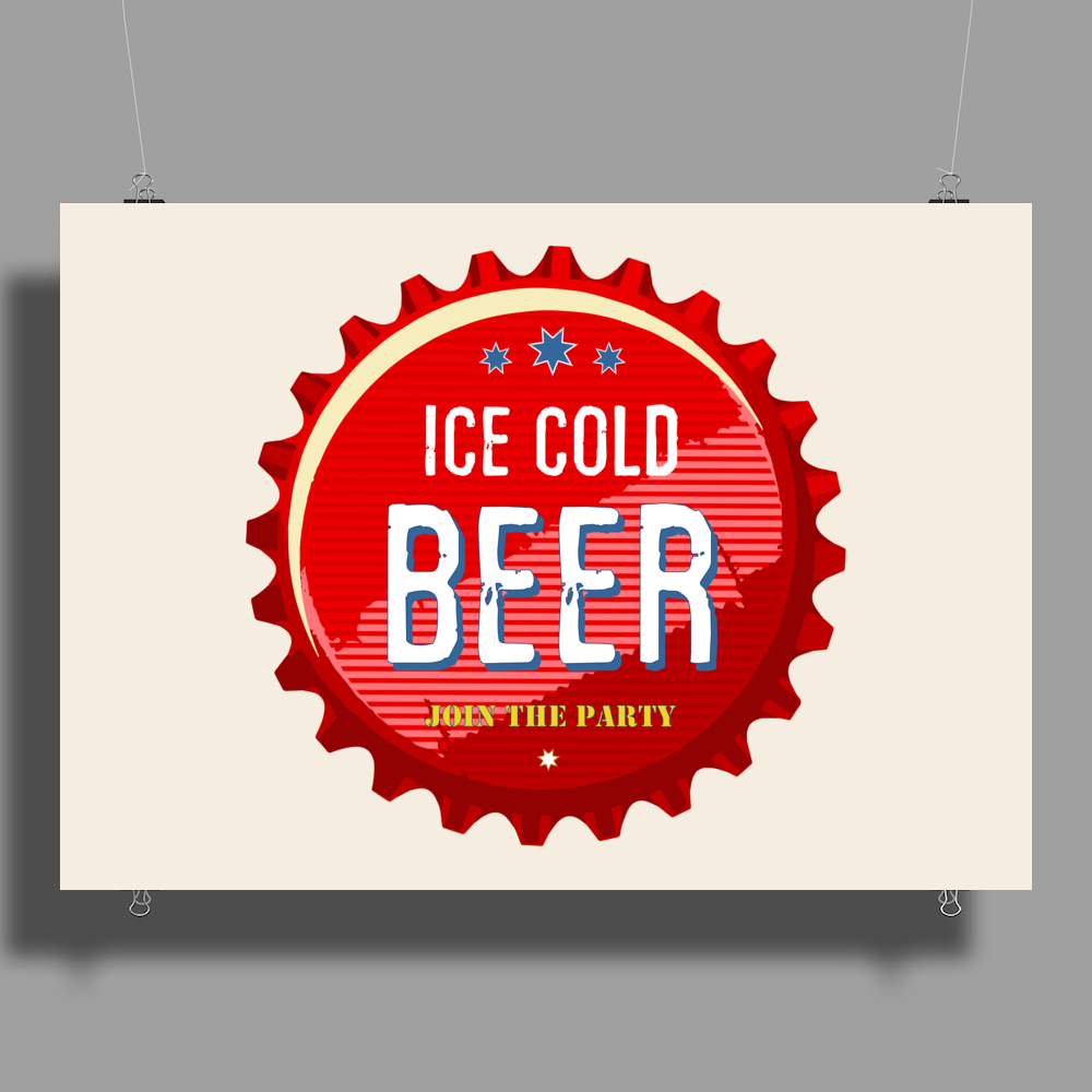 bottle cap crown cap red crown cork ice cold beer join the party enjoy your party drink alcohol Poster Print (Landscape)