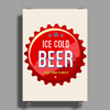 bottle cap crown cap red crown cork ice cold beer join the party enjoy your party drink alcohol Poster Print (Portrait)