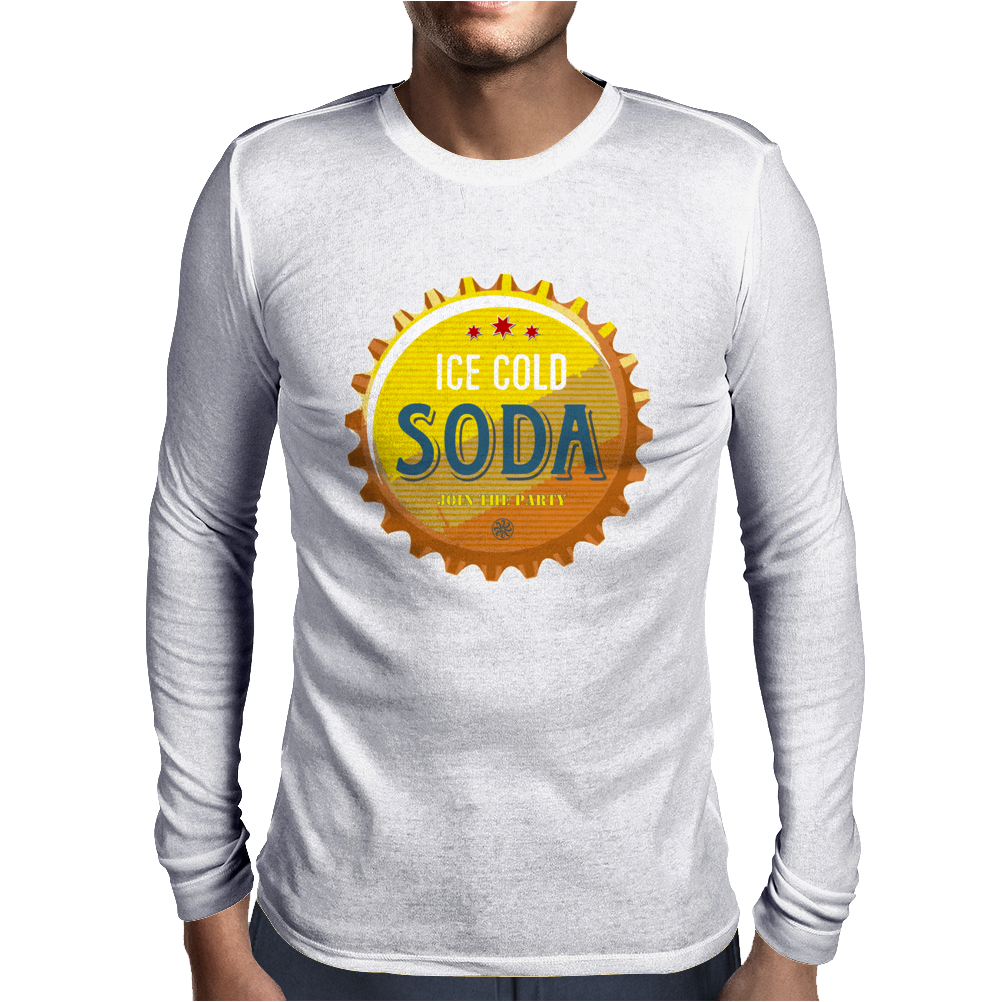 bottle cap crown cap yellow crown cork ice cold soda join the party enjoy your party drink water Mens Long Sleeve T-Shirt