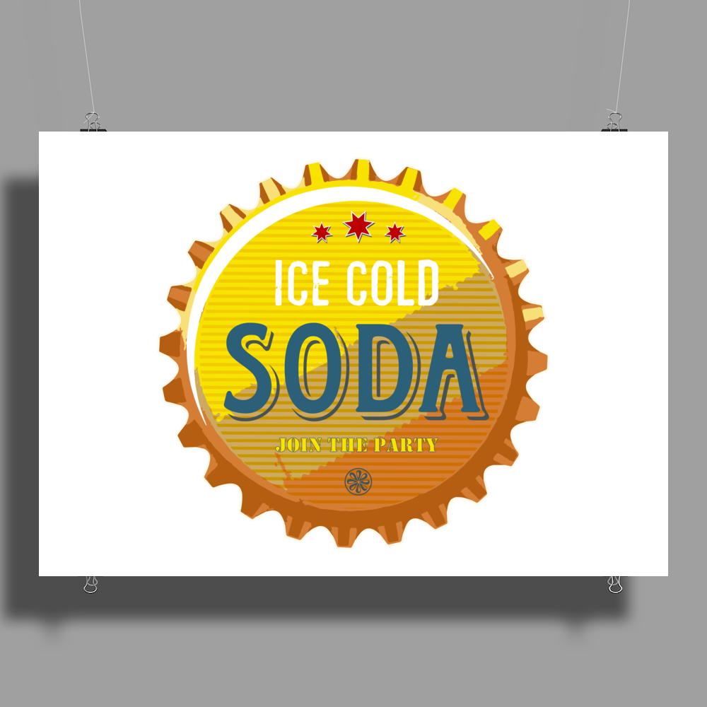 bottle cap crown cap yellow crown cork ice cold soda join the party enjoy your party drink water Poster Print (Landscape)